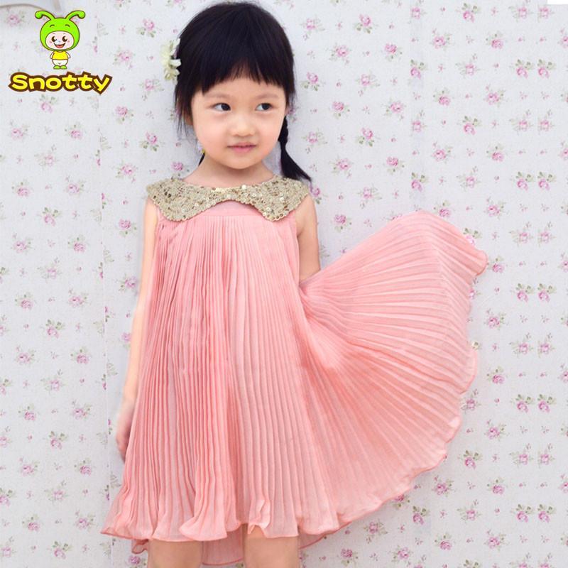 Fashion kids clothes wholesale china sleeveless baby girls dresses pink kids chiffon dress KD-14007(China (Mainland))
