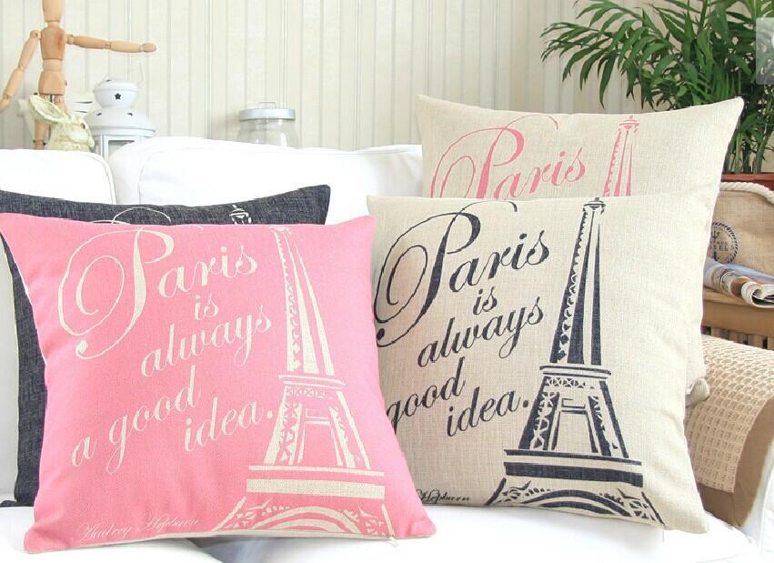 Linen Cotton pink Eiffel Tower /Chevron Cushion Cover /Pillow Cover /Decorative Sofa Pillow /Cushion/Pillow Sham/Pillowcase(China (Mainland))