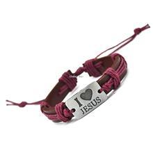 I Love Jesus Genuine Leather Charm Bracelet Cuff Braided Wrap Bracelet Bangles Fashion For Women Men