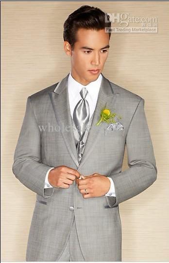 New Arrival Light Grey Two Buttons Groom Tuxedos Best Man Peak Lapel Groomsmen Men Wedding Suits Bridegroom (Jacket+Pants+Tie+Ve(China (Mainland))