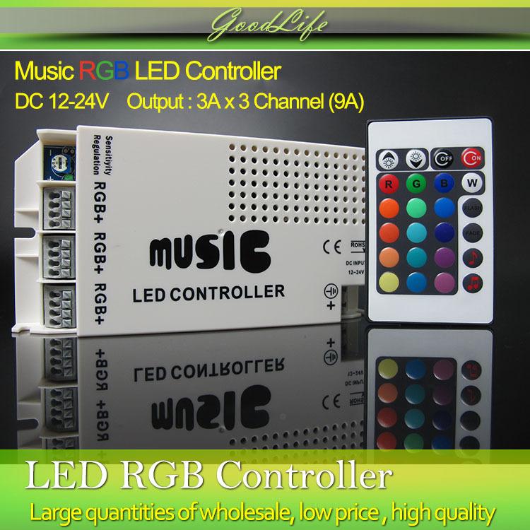 9A 12-24V 24 Keys Wireless IR Remote RGB Control LED Music Sound Control RGB led Controller Dimmer for RGB LED Strips(China (Mainland))