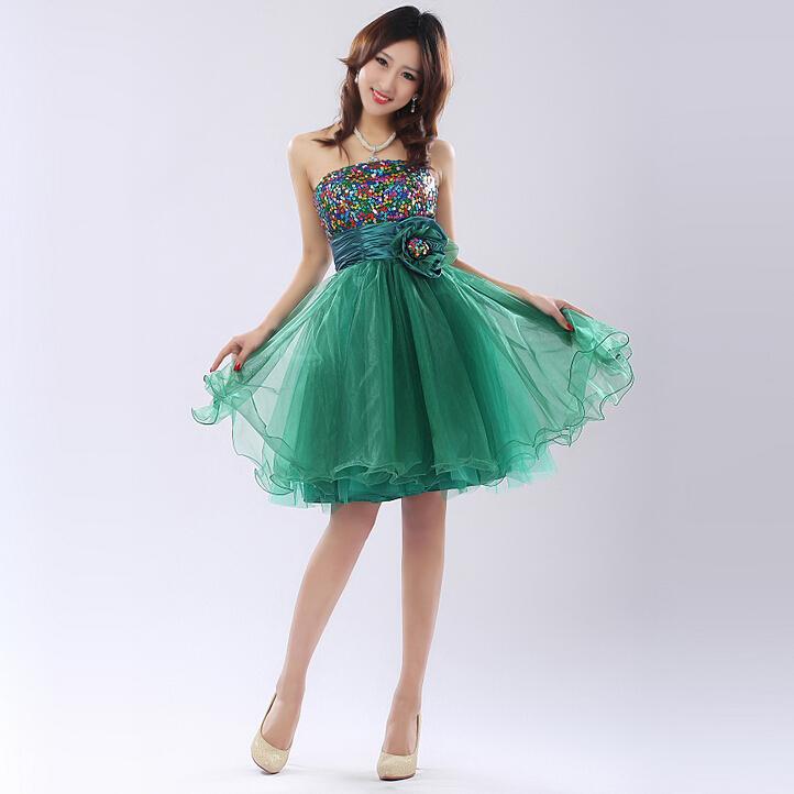 Verde da dama de honra festa beach girl fantasia strapless vestido do verão 2015 simples mini mangas jovem adulto vestidos para meninas W2509(China (Mainland))