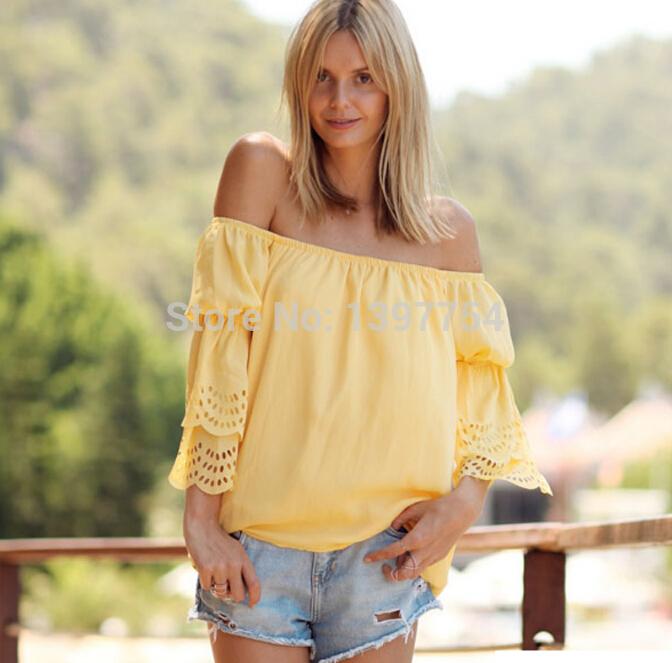 2015 Woem Fashoin Sexy Casual Apparel Women Boutique Slash Neck Yellow Lace 3/4 Sleeve Blouse Ladies Summer Chiffon Top Shirt(China (Mainland))