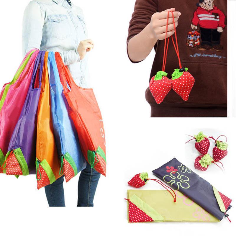1 Piece Eco Storage Handbag Strawberry Foldable Shopping Tote Reusable Bags 8 colors(China (Mainland))