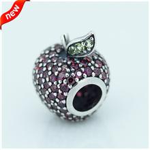 Apple , проложить серебряный шарм с необычные красный цирконий и светло-зеленый CRYSTAL100 % 925 стерлингового серебра ювелирные изделия шарм бусины DIY