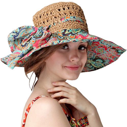 Fashion Sun Hat Women Summer Straw Hats Printing Adjustable Ecology cap Foldable Women Beach Headwear Top Quality(China (Mainland))