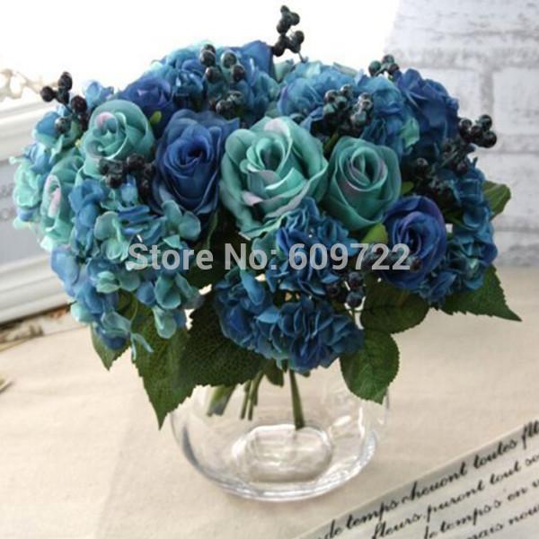 New Year Fabric 6set x 7pcs Wedding Home Decoration Artificial Rose Hydrangea Bridal Flower Pip Berry Bouquet Ideas Blue FL5051(China (Mainland))