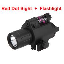 2 in 1 red dot laservisier Jagdzielfernrohre optische Augen zielfernrohr + kompakt taktische taschenlampe Combo mit schiene(China (Mainland))