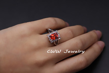 White Gold Plated CZ Diamond Wedding Jewelry Big Square Red Ruby Zirconia Engagement Rings For Women