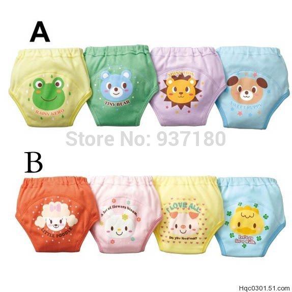Best selling!!Baby Cartoon waterproof cotton potty training pants Free shipping 12pcs/lot baby nappies(China (Mainland))