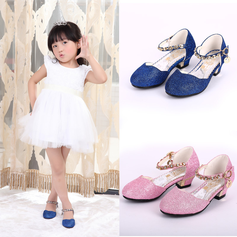 2015 New Autumn Girls Shoes Fashion Diamond Gold Powder Shiny Kids Shoes Girls Heels Sandals Girls Soft Leather Princess Shoes(China (Mainland))