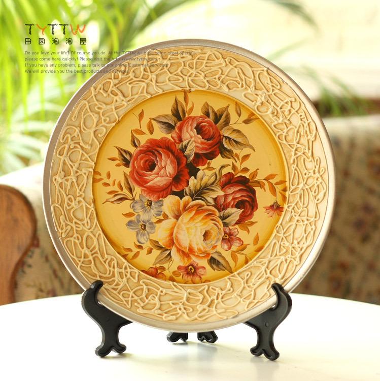 European roses embossed pattern side dish large decorative ceramic decorations ceramic crafts home furnishings(China (Mainland))