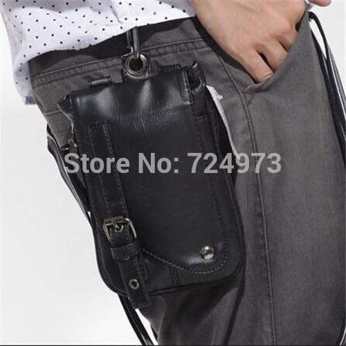 Hot sale korean designer brand pu black leather fanny pack outdoors casual men waist pouch vintage vogue women pochete cintura(China (Mainland))