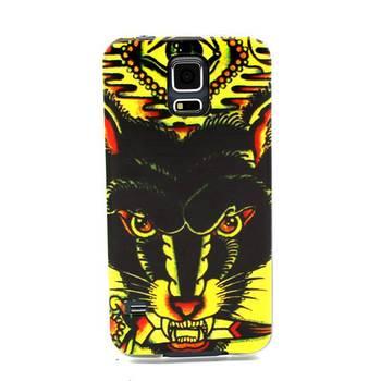 Мягкие TPU резиновая W / черный волк рисунок гель обложка для Samsung Galaxy S5 телефон чехол сумка бесплатная доставка