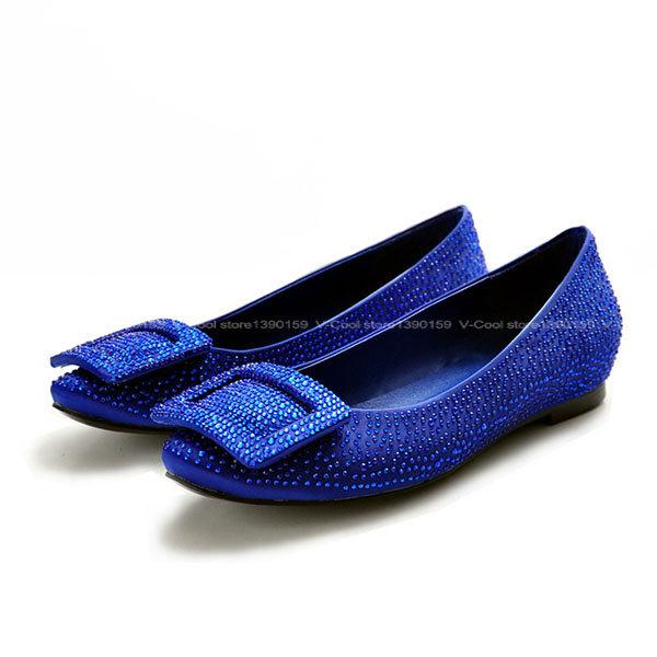 2015 Top Luxury Rhinestone Flats For Women Square Toe Dress Shoes Female Satin Ballet Flats Girls Slip On Valentine Shoes(China (Mainland))