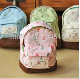MO New 2015 Kawaii Fabric Canvas Mini Floral Backpack Women Girls Kids Cheap Coin Pouch Change Purses Clutch Bags Wholesale OM(China (Mainland))