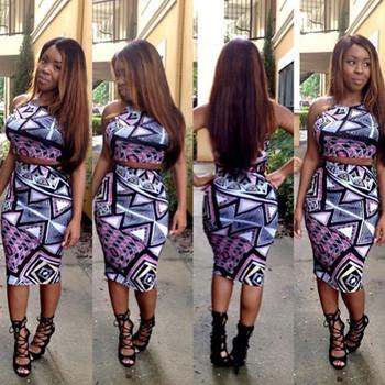 Тов новые 2015 лето мода 2 шт. комплект женщины bodycon платье, сексуальный износ клуба печать две пьесы платье повязки L325
