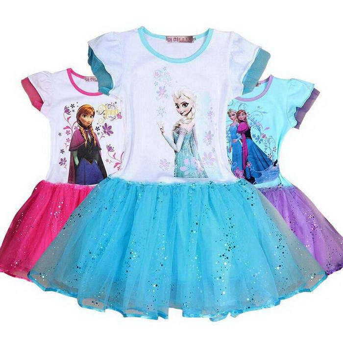 AliExpress.com Product - New Retail 2-8yrs Girls' Elsa Anna Dress kid's 2015 cartoon summer dress girl's tutu princess dress lovable clothing CG12