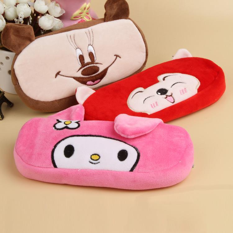 New Fashion Cute Animal Pattern Soft Plush Fancy Pencil Case Pen Pocket Cosmetic Makeup Zipper Bag Drop Shipping OSS-0020(China (Mainland))