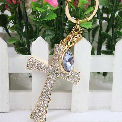 Free shipping Full Crystal Christian Cross Keyring Keychain Car Decoration Fashion Jewellry Good Christian Gift(China (Mainland))