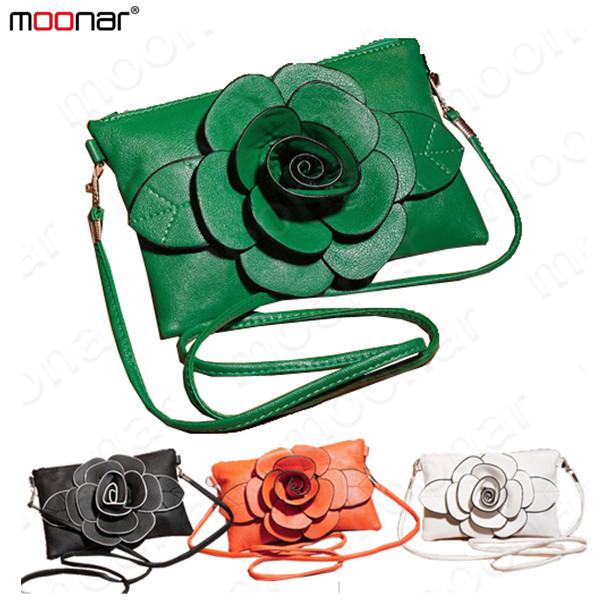 Protable Big Flower Women Shoulder Bag Leather Handbag Tote Purse Satchel Casual Messenger Bag(China (Mainland))