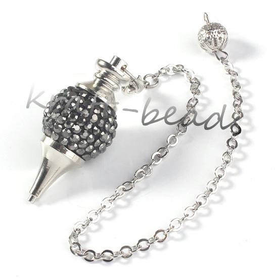wholesale 10 Pcs Charm Rhinestone Silver White Metal Ball Chain Dowsing Healing Chakra Pendulum Gift(China (Mainland))