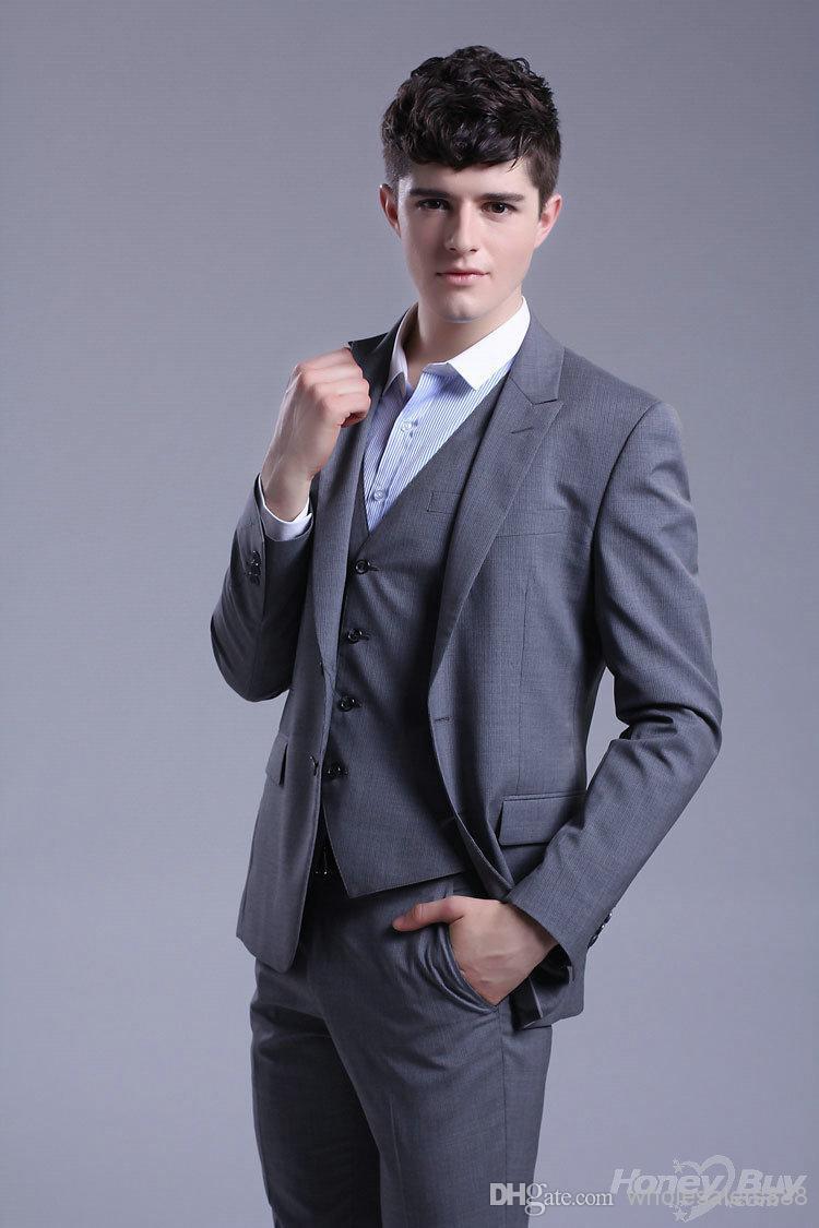 Hat Sale New Style Two Buttons Groom Tuxedos Grey Best man Peak Lapel Groomsman Men Wedding Suits Bridegroom (Jacket+Pants+Tie+V(China (Mainland))