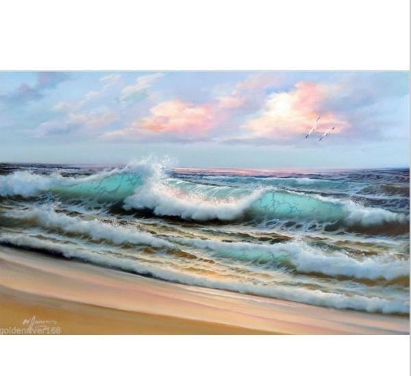 Marinha bonito gramado ondas do mar com a rosa do por do sol 100% pintado à mão high(China (Mainland))