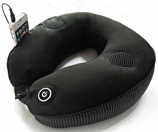Wholesale Vibrating Massage U Shaped Neck Cushion Relaxation Pillow w/MP3 Connector(China (Mainland))