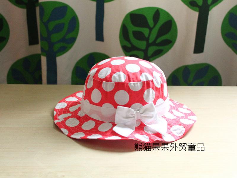 2015 Accessories Export The Original Single Girls Princess Hat Cap Seaside Spring Tourism Caps Big Pots Brim Sun Polka Cover(China (Mainland))