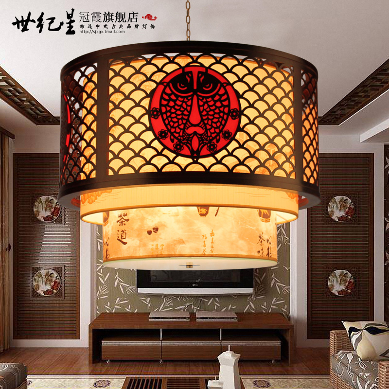 Chinese classical Chinese Wooden carved sheepskin chandelier lighting fish every year Wooden chandeliers Chinese Restaurant(China (Mainland))
