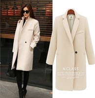 2015 new women's fashion big European and American style long coat Slim was thin wool woolen coat a buckle