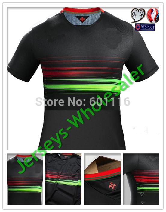 15/16 Thailand Quality Soccer Jerseys Black Cristiano Ronaldo Camisetas 2015 Football Shirts with 2016 Euro Patch(China (Mainland))
