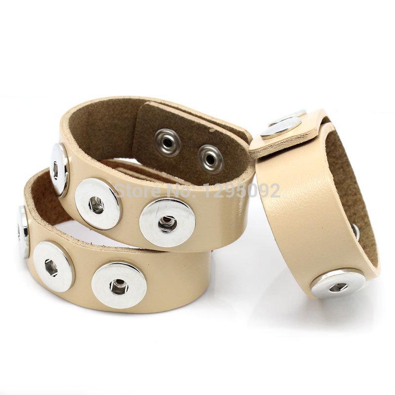"Wholesales 3Pcs Beige Real Leather Diy Snap Bracelets Base Band Fit 5.5mm Snap Press Buttons 24cm x 2.4cm(9 4/8""x1"")(China (Mainland))"