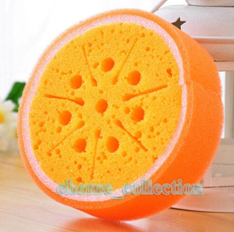 Tempting Ceavtive Cute Fruit Orange Style Kitchen Dish Bowl Cleaning Thickening Washing Scouring Pad Sponge Scourer for kitchen(China (Mainland))