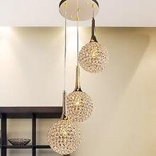 Golden LED Modern Crystal Pendant light Lamp with 3 Lights For Living Dining Room Luminaire Lustre
