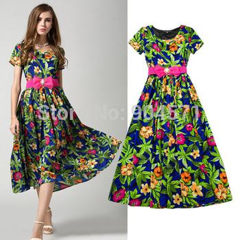 Мода 2015 новый летний шифона платье элегантные женщины печать о-образным вырезом свободного покроя с бантом пят платья с поясом