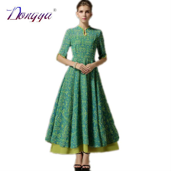 Women Maxi Dresses Long Ethnic 2015 New Chiffon Spring Stand Print Color Vintage Green Formal Dress Vestidos Para Festa Jurk(China (Mainland))