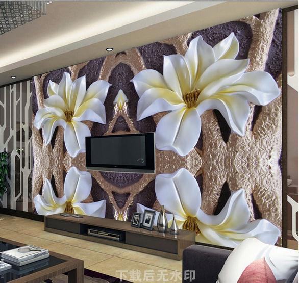 обои на стену с большими цветами фото