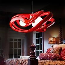 Resin and Glass Red Modern LED Pendant Light Lamp For Home Living Room Lustres e