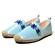 2015 Fashion Women Sheepskin Espadrilles Cute Womans Rhinestone Flats Female Leather Party Shoes Brand Chaussure Femme(China (Mainland))