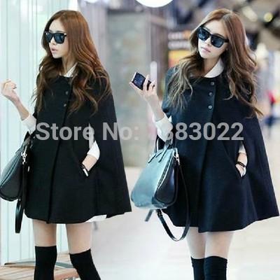 Womens Winter Casual Warm Cloak Coat Cape Black Batwing Wool Poncho Jacket Lady(China (Mainland))