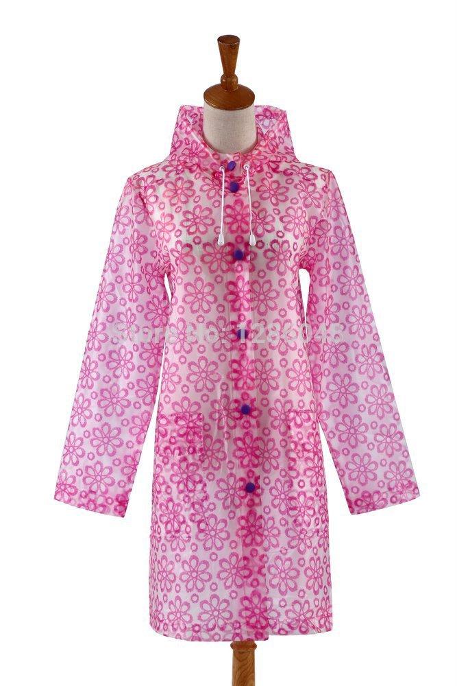 Цветочный узор водонепроницаемый материал женщины в длинная лёгкий плащ взрослые дождь куртка
