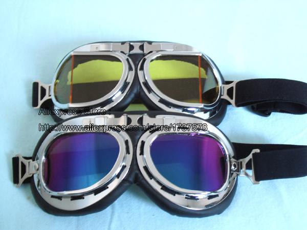 2 pcs - Goggles UV Colour + Bevel Yellow Lens Aviator Pilot Motorcycle Motocross Cycling Scooter Glasses Bike Sunglasses #25(China (Mainland))