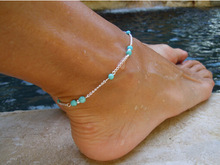 Unique Turquoise Beads  sexy Silver Chain Anklet Ankle Bracelet Foot  women Jewelry
