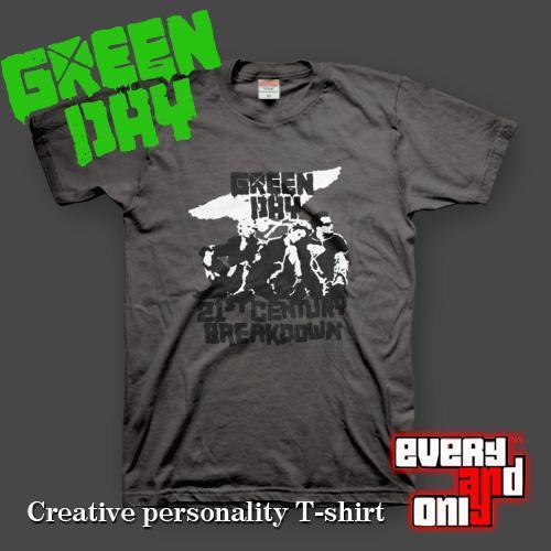 Green day green 21st century breakdown 1 short-sleeve T-shirt Dark gray punk 2 colors(China (Mainland))
