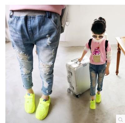 Детские рваные джинсы для девочек