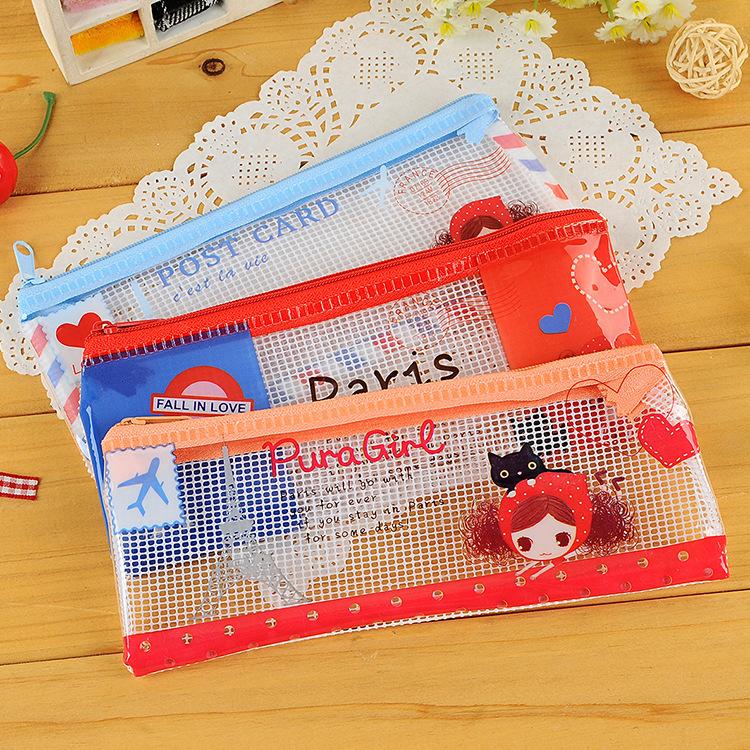 10pcs/lot Korea Stationery Fashion Cute Girl Creative Pencil Bag Case PVC Student Storage Bag For School Girls Boys Kids(China (Mainland))