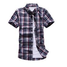 Camisa Casual Masculina Xadrez Manga Curta