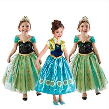 Retail New 2015 Summer Girls Dress Baby Kids Clothes Elsa Anna Princess Party Dresses Children Clothing
